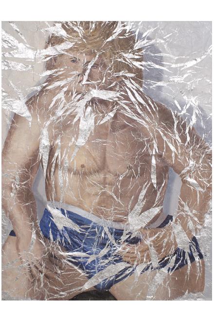 Lucy Kim Jessie – Unfolded Oil paint on aluminum foil 45″ x 59″ 2012