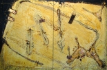 Anthony Miraglia, Cinque Aggresori 2 Mixed media on wood panel 48 x 72 2013
